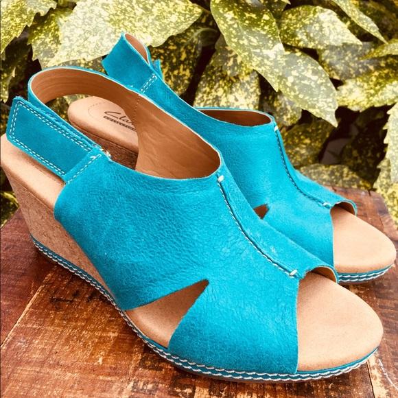 c70d5607a Clarks Shoes - Clarks Helio blue suede wedge sandals women 8